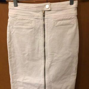 7 For All Mankind White Pencil Denim Skirt w/ Zip